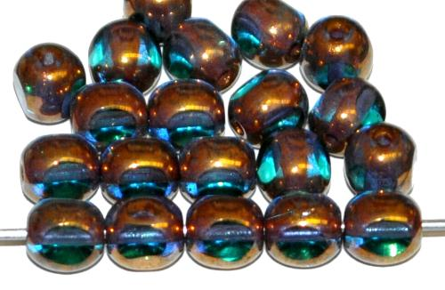 Best.Nr.:28362 Glasperlen / 3 Seiten geschliffen, türkis transp. bronziert, hergestellt in Gablonz / Tschechien