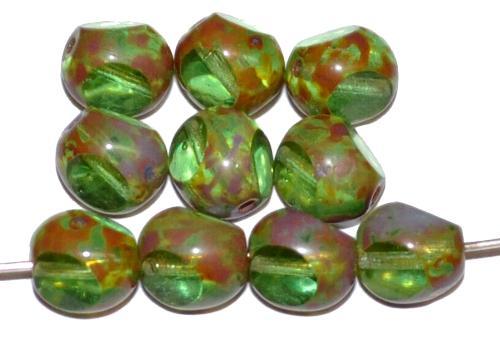 Best.Nr.:28374 Glasperlen grün transp. mit picasso finish, 3 Seiten geschliffen, hergestellt in Gablonz / Tschechien
