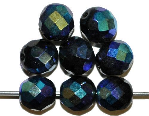 Best.Nr.:28376  facettierte Glasperlen  schwarz mit AB,  hergestellt in Gablonz / Tschechien
