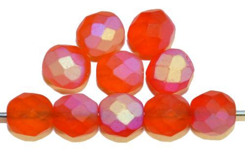 Best.Nr.:28379 facettierte Glasperlen  orange mattiert ( frostet ) mit AB,  hergestellt in Gablonz / Tschechien