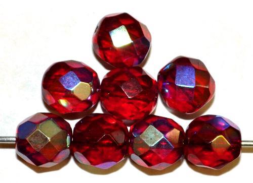 Best.Nr.:28382 facettierte Glasperlen  granatrot mit AB, hergestellt in Gablonz / Böhmen