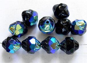 Best.Nr.:28385 Glasperlen schwarz mit facettiertem Band und metallic finish, hergestellt in Gablonz / Tschechien
