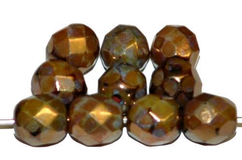 Best.Nr.:28388 facettierte Glasperlen bronzefarben hergestellt in Gablonz / Tschechien