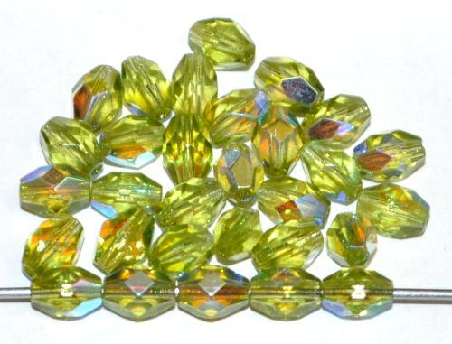 Best.Nr.:28406 Glasperlen Oliven geschliffen, olivgrün transp. mit AB, hergestellt in Gablonz / Tschechien