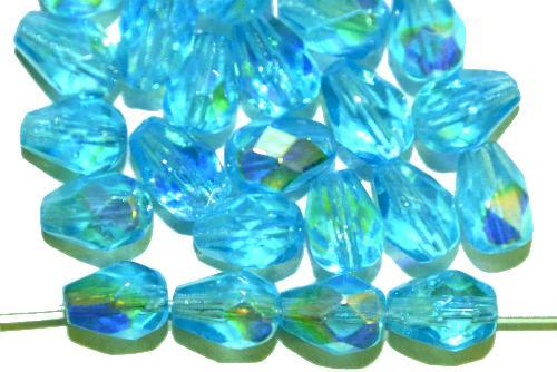 Best.Nr.:28409 Glasperlen Tropfen geschliffen,  türkis transp. mit AB,  hergestellt in Gablonz / Tschechien