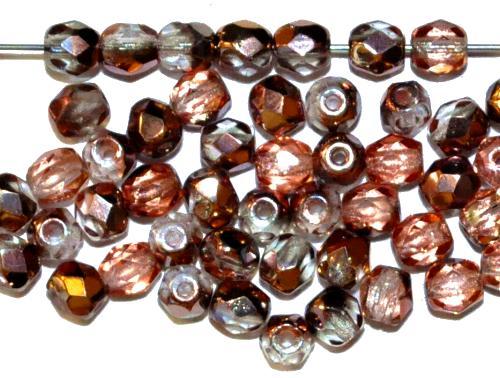 Best.Nr.:28433 facettierte Glasperlen,  kristall mit cupfer metallic finish,  hergestellt in Gablonz / Tschechien