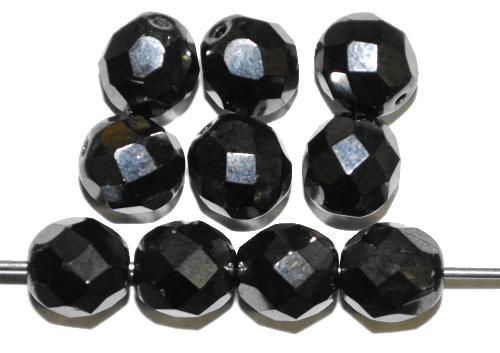 Best.Nr.:28415 facettierte Glasperlen  hämatitfarben,  hergestellt in Gablonz / Tschechien