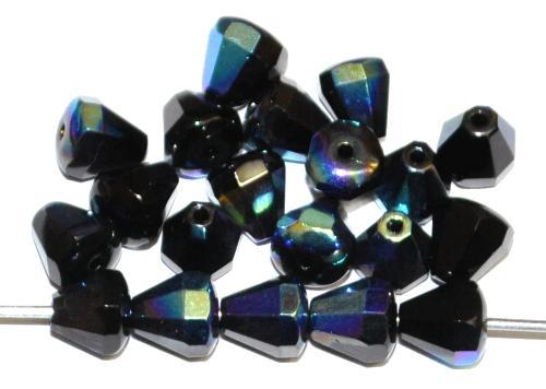 Best.Nr.:28424 facettierte Glasperlen Tropfen schwarz mit AB, hergestellt in Gablonz / Tschechien
