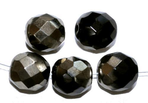 Best.Nr.:28425 facettierte Glasperlen  schwarz mit platin finish,  hergestellt in Gablonz / Tschechien