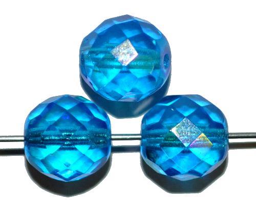 Best.Nr.:28426  facettierte Glasperlen  blau transp. mit AB,  hergestellt in Gablonz / Tschechien