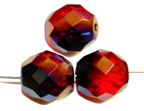 Best.Nr.:28426  facettierte Glasperlen,  rot transp. mit metallic finish,  hergestellt in Gablonz / Tschechien