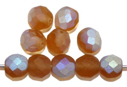 Best.Nr.:28427 facettierte Glasperlen  braun mattiert ( frostet ) mit AB,  hergestellt in Gablonz / Tschechien