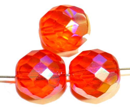 Best.Nr.:28427 facettierte Glasperlen,  orangerot mit AB finish,  hergestellt in Gablonz / Tschechien