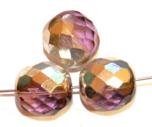 Best.Nr.:28427 facettierte Glasperlen,  french violett mit silber finish,  hergestellt in Gablonz / Tschechien