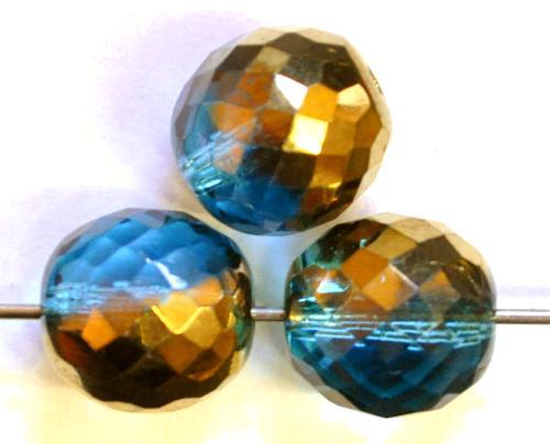 Best.Nr.:28431 facettierte Glasperlen  montana blue transp. mit metallic finish,  hergestellt in Gablonz / Tschechien