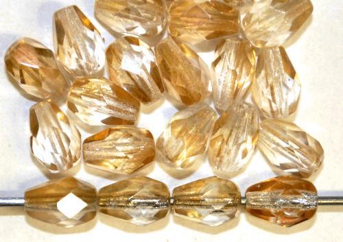 Best.Nr.:28435 Glasperlen Tropfen geschliffen,  kristall mit metallic finish,  hergestellt in Gablonz / Tschechien
