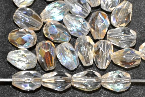 Best.Nr.:28436 Glasperlen Tropfen geschliffen,  kristall mit AB finish,  hergestellt in Gablonz / Tschechien