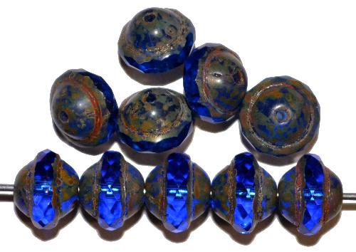 Best.Nr.:25091 Glasperlen blau transp. mit facettiertem Band  und picasso finish,  hergestellt in Gablonz / Tschechien