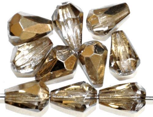 Best.Nr.:28439 facettierte Glasperlen Tropfen  kristall mit metallic finish,  hergestellt in Gablonz / Tschechien