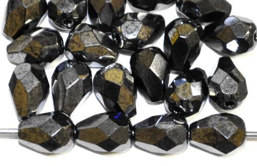 Best.Nr.:28440 facettierte Glasperlen Tropfen metallic finish,  hergestellt in Gablonz / Tschechien