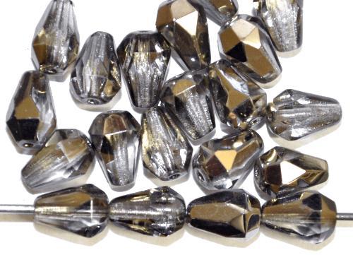 Best.Nr.:28441  Glasperlen Tropfen geschliffen,  kristall mit platin finish,  hergestellt in Gablonz / Tschechien