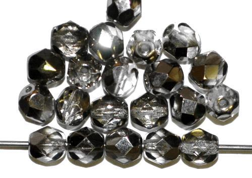 Best.Nr.:28442 facettierte Glasperlen  kristall mit platin finish,  hergestellt in Gablonz / Tschechien