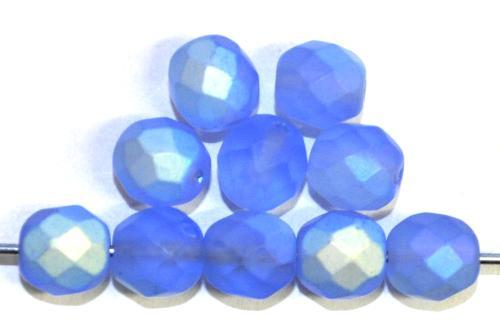 Best.Nr.:28443  facettierte Glasperlen  hellblau mattiert ( frostet ) mit AB,  hergestellt in Gablonz / Tschechien