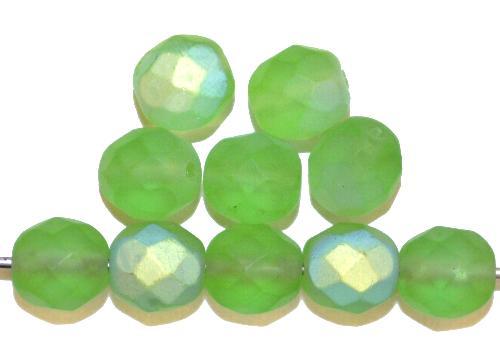 Best.Nr.:28444 facettierte Glasperlen  hellgrün mattiert ( frostet ) mit AB,  hergestellt in Gablonz / Tschechien