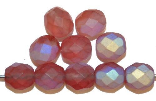 Best.Nr.:28445 facettierte Glasperlen  french violett mattiert ( frostet ) mit AB,  hergestellt in Gablonz / Tschechien