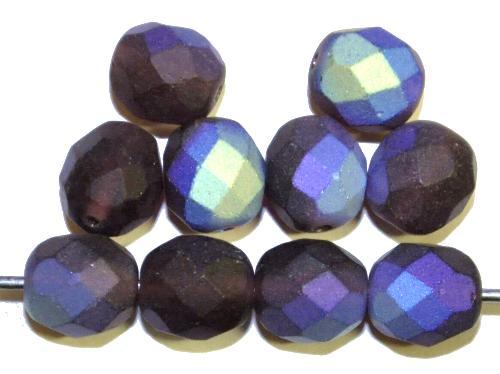 Best.Nr.:28446  facettierte Glasperlen  violett mattiert ( frostet ) mit AB,  hergestellt in Gablonz / Tschechien