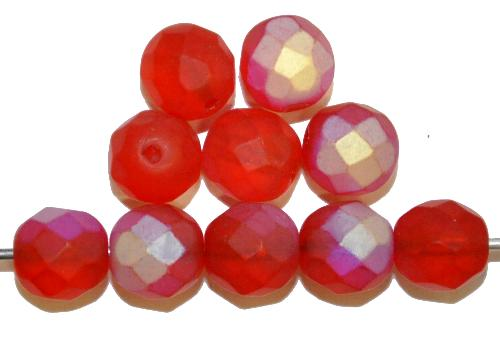 Best.Nr.:28447 facettierte Glasperlen  rot mattiert ( frostet ) mit AB,  hergestellt in Gablonz / Tschechien