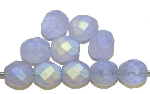 Best.Nr.:28448  facettierte Glasperlen  aqua mattiert ( frostet ) mit AB,  hergestellt in Gablonz / Tschechien