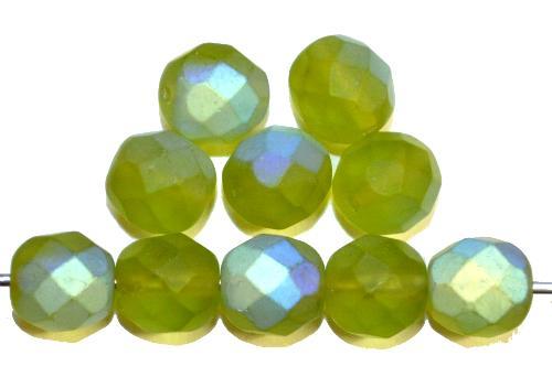 Best.Nr.:28451  facettierte Glasperlen  olivgrün mattiert ( frostet ) mit AB,  hergestellt in Gablonz / Tschechien