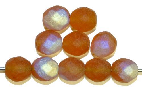 Best.Nr.:28453  facettierte Glasperlen  hellbraun mattiert ( frostet ) mit AB,  hergestellt in Gablonz / Tschechien