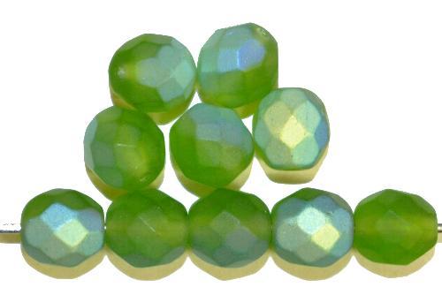 Best.Nr.:28454 facettierte Glasperlen  grün mattiert ( frostet ) mit AB,  hergestellt in Gablonz / Tschechien