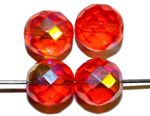 Best.Nr.:28456 facettierte Glasperlen  rot transp. mit AB finish,  hergestellt in Gablonz / Tschechien