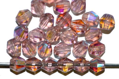 Best.Nr.:28461 facettierte Glasperlen bicon  violett mit AB,  hergestellt in Gablonz / Tschechien