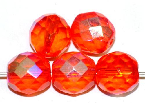 Best.Nr.:28477 facettierte Glasperlen  orange transp. mit AB,  hergestellt in Gablonz / Tschechien