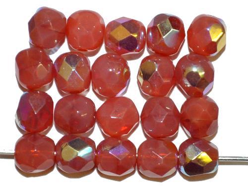 Best.Nr.:28478 facettierte Glasperlen  cornelian opal mit AB,  hergestellt in Gablonz / Tschechien