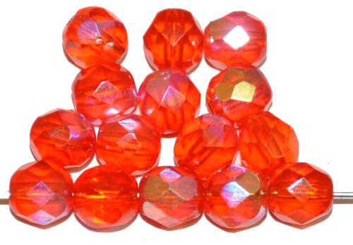 Best.Nr.:28479 facettierte Glasperlen  orange transp. mit AB,  hergestellt in Gablonz / Tschechien