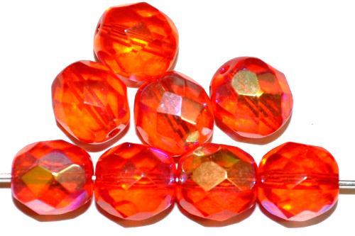 Best.Nr.:28480 facettierte Glasperlen  orange transp. mit AB,  hergestellt in Gablonz / Tschechien