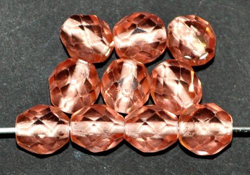 Best.Nr.:29001 facettierte Glasperlen  apricot mit Farbeinzug weiß, hergestellt in Gablonz / Tschechien