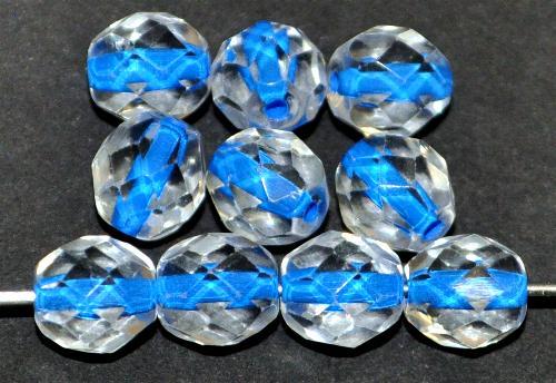 Best.Nr.:29004 facettierte Glasperlen kristall mit Farbeinzug blau, hergestellt in Gablonz / Tschechien