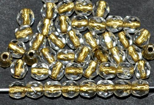Best.Nr.:29006 facettierte Glasperlen  kristall mit Goldeinzug, hergestellt in Gablonz / Tschechien