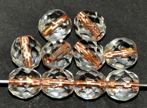 Best.Nr.:29012 facettierte Glasperlen  kristall mit Kupfereinzug, hergestellt in Gablonz / Tschechien