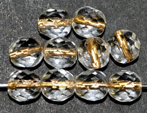 Best.Nr.:29013 facettierte Glasperlen  kristall mit Goldeinzug, hergestellt in Gablonz / Tschechien
