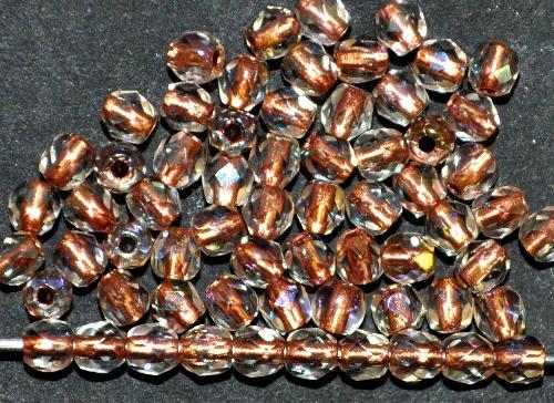 Best.Nr.:29017 facettierte Glasperlen kristall mit Kupfereinzug und AB, hergestellt in Gablonz / Tschechien