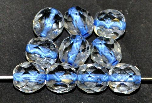 Best.Nr.:29018 facettierte Glasperlen  kristall mit Farbeinzug blau, hergestellt in Gablonz / Tschechien