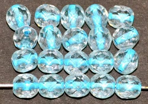 Best.Nr.:29022  facettierte Glasperlen  kristall mit Farbeinzug hellblau,  hergestellt in Gablonz / Tschechien