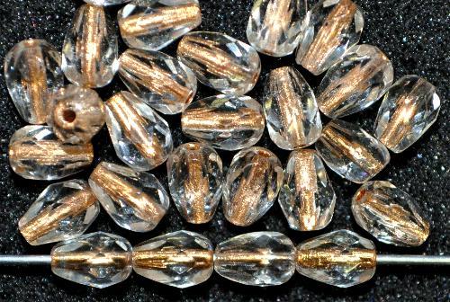 Best.Nr.:29024 facettierte Glasperlen Tropfen kristall mit Metalliceinzug, hergestellt in Gablonz / Tschechien